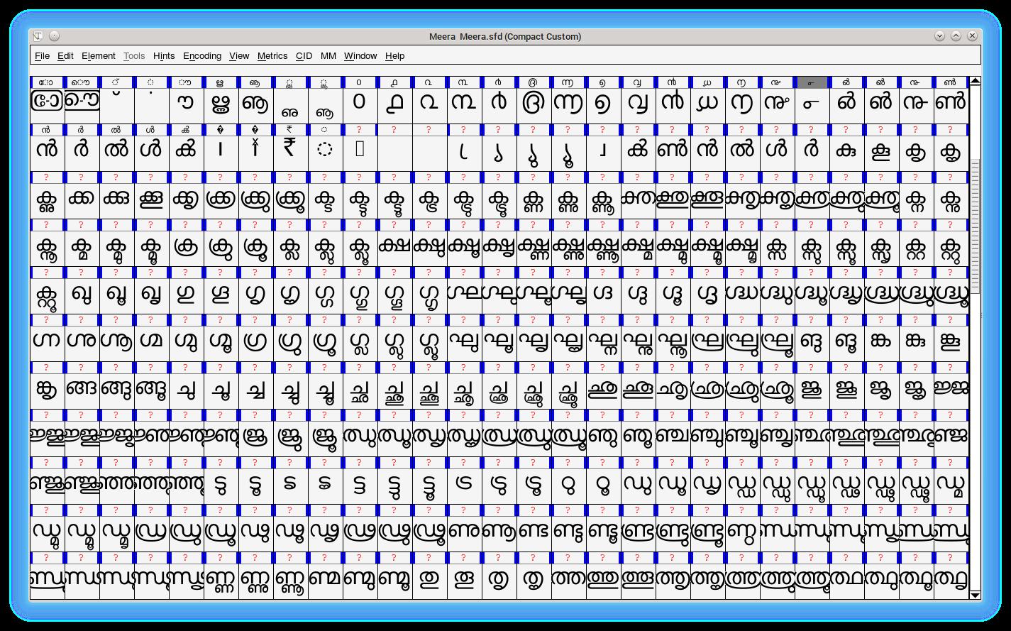 glyph-fontforge-meera