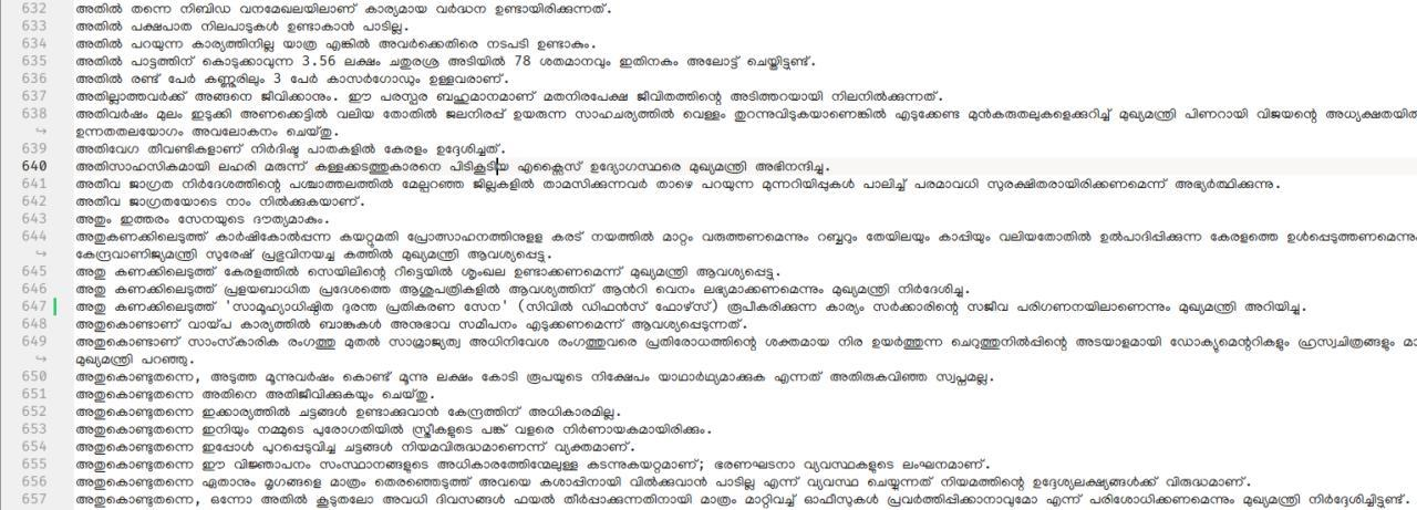 Sample from CMO Kerala corpus